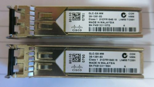 2 x Cisco 30-1301-03 GLC-SX-MM 1000BASE-SX SFP MMF 850nm GBIC Transceiver Module